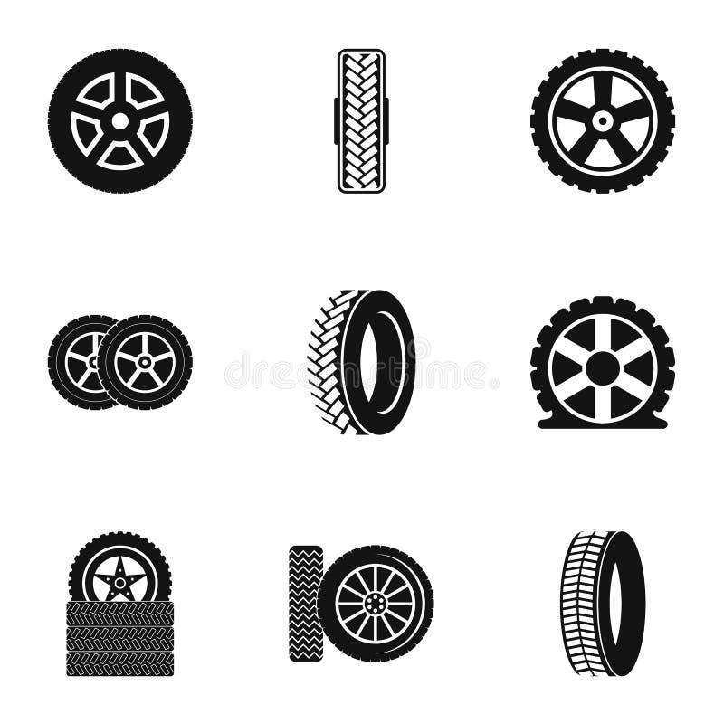 Icônes de roue réglées, style simple illustration de vecteur