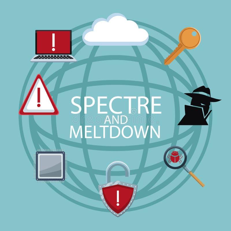 Icônes de sécurité de Cyber illustration stock