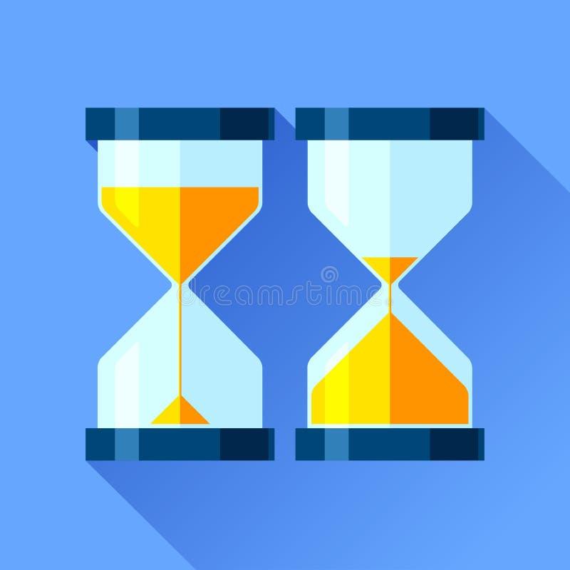 Icônes de sablier réglées dans le style plat, minuteries de sandglass sur le fond de couleur Éléments de conception de vecteur po illustration stock
