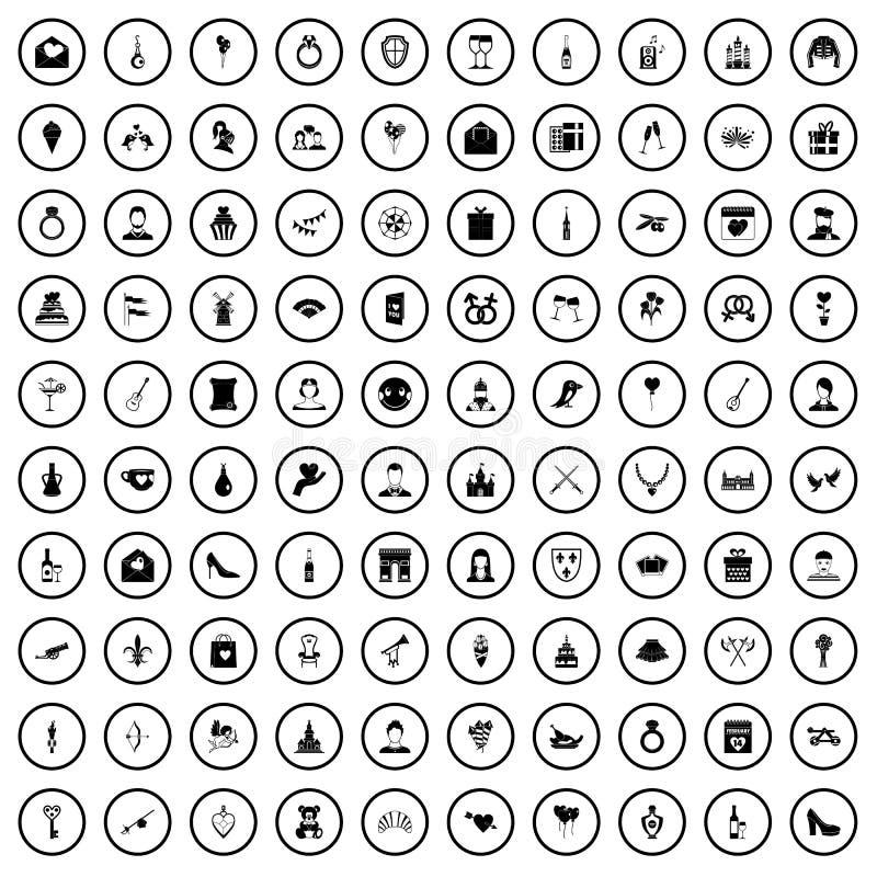 100 icônes de Saint Valentin réglées, style simple illustration stock