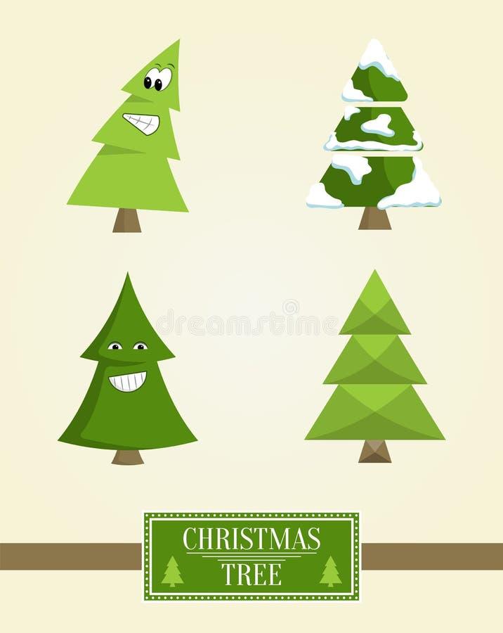 Icônes de sapin de collection de panneau de signe d'arbre de Noël illustration libre de droits