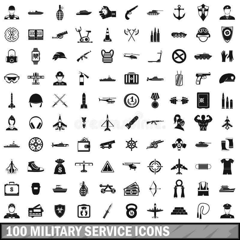100 icônes de service militaire réglées, style simple illustration stock