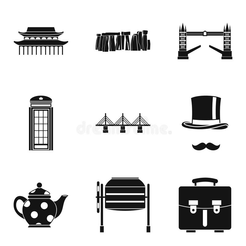 Icônes de Showplace réglées, style simple illustration libre de droits