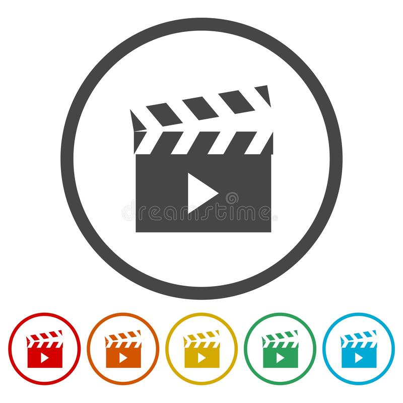 Icônes de signe de clapet de film réglées illustration libre de droits