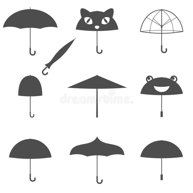 Icônes de silouette de parapluie illustration de vecteur