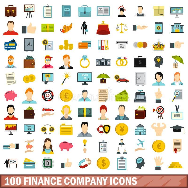 100 icônes de société de financement financière réglées, style plat illustration libre de droits