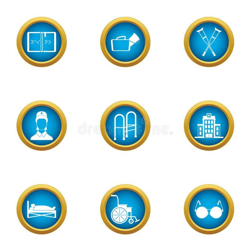 Icônes de soins réglées, style plat illustration stock