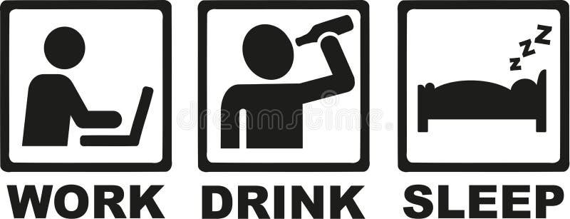 Icônes de sommeil de boissons de travail - jour dans la vie illustration stock