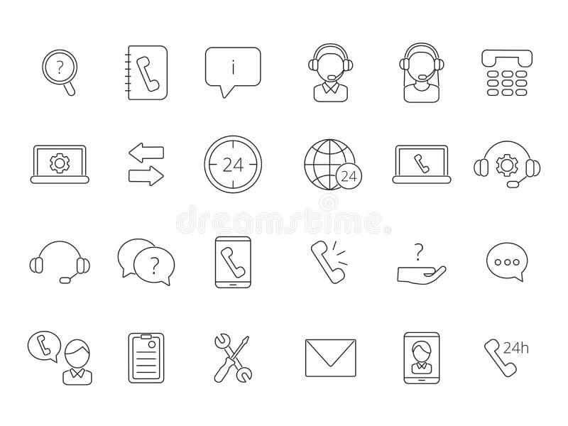 Icônes de soutien de centre d'appels Isolat linéaire de symboles de vecteur sur le blanc illustration de vecteur