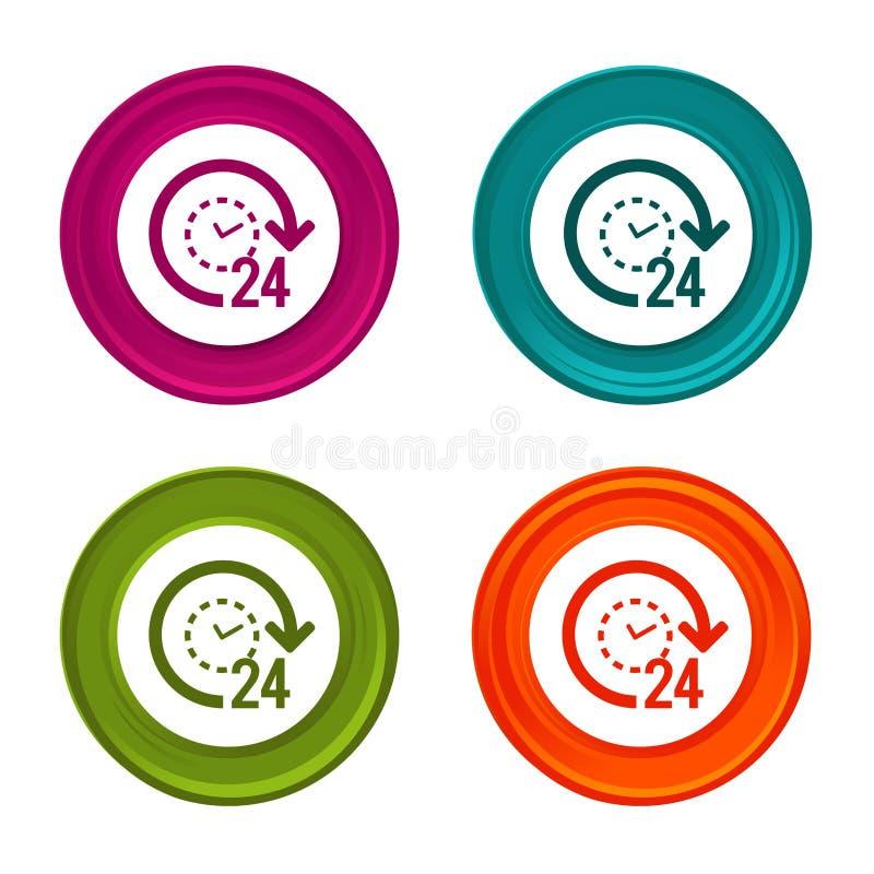 icônes de soutien 24h signes de commerce électronique Symbole d'achats Bouton coloré de Web avec l'icône illustration stock