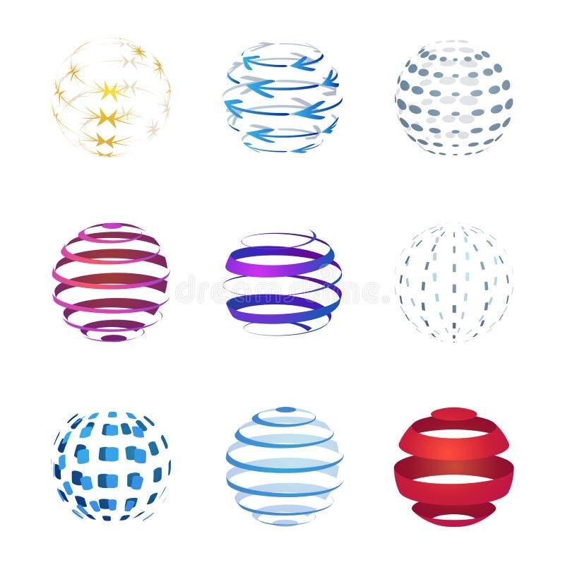 Icônes de sphère réglées d'isolement sur le fond blanc Conception graphique de logo illustration libre de droits