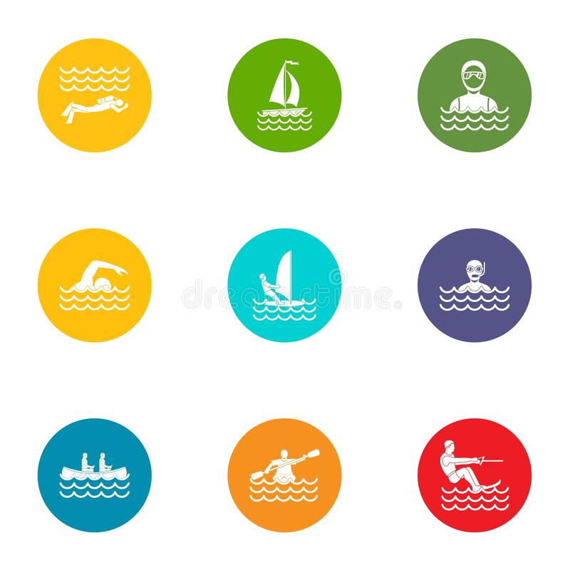 Icônes de sport de natation réglées, style plat illustration de vecteur