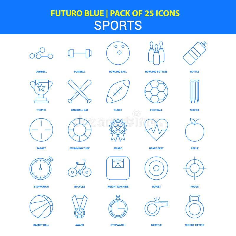 Icônes de sports - paquet bleu de 25 icônes de Futuro illustration stock