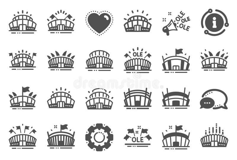 Icônes de stade de sports Vieux chant, le football d'ar?ne, architecture de championnat Vecteur illustration de vecteur