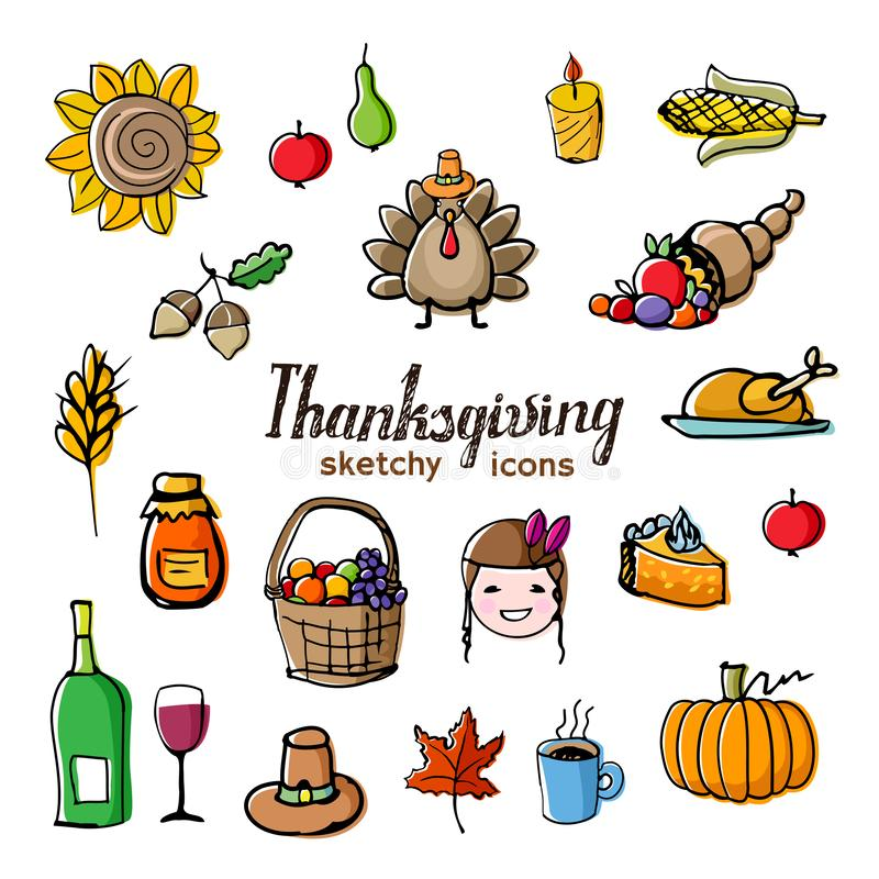 Icônes de style de griffonnage de thème de thanksgiving avec l'effet excentré illustration stock