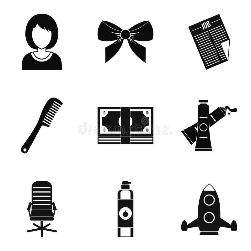 Icônes de styliste réglées, style simple illustration stock