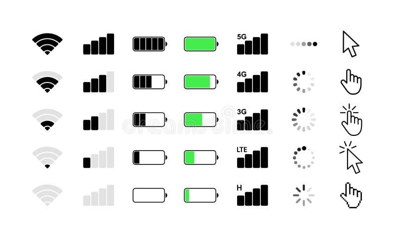 Icônes de système de téléphone portable Force du signal de Wifi, niveau de charge de batterie, chargement, téléchargement, curseu illustration de vecteur