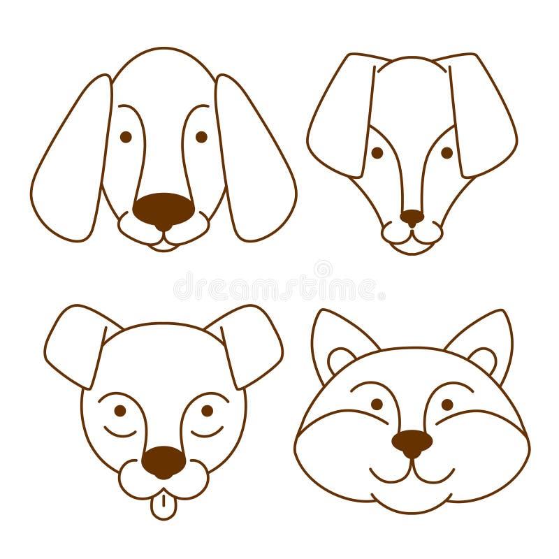Icônes de têtes de chiens réglées image libre de droits
