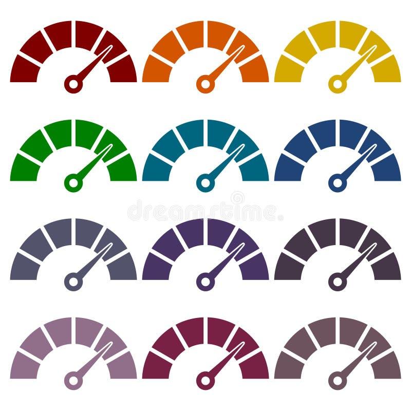 Icônes de tachymètre ou de mesure réglées illustration libre de droits
