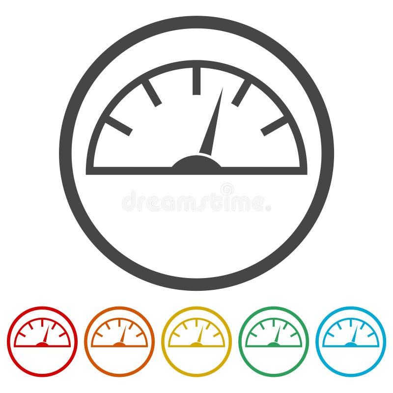 Icônes de tachymètre réglées illustration stock