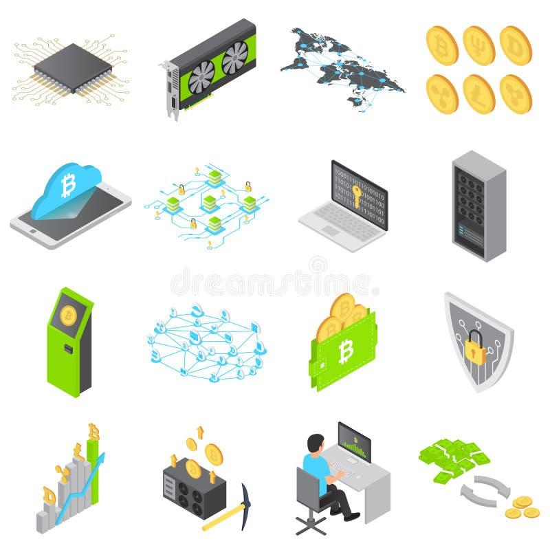 Icônes de technologie de Blockchain réglées, style isométrique illustration stock