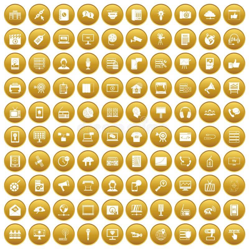 100 icônes de technologie de l'information ont placé l'or illustration libre de droits