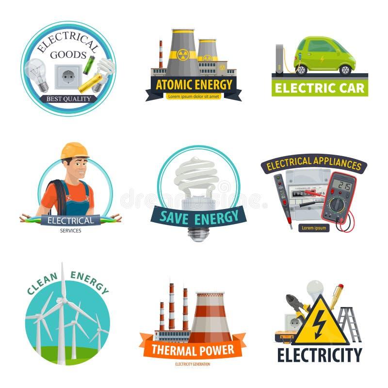 Icônes de technologie de puissance de l'électricité de vecteur illustration de vecteur