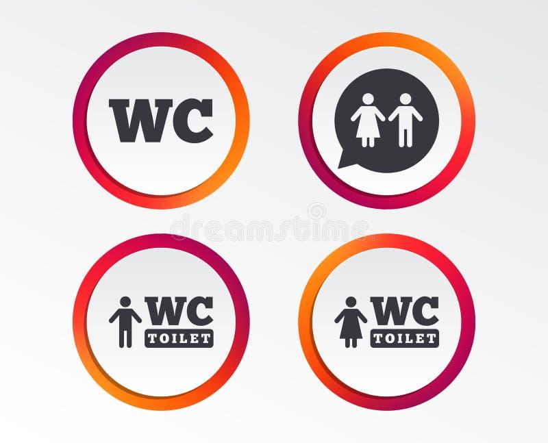 Icônes de toilette de carte de travail Monsieurs et toilettes pour dames illustration de vecteur