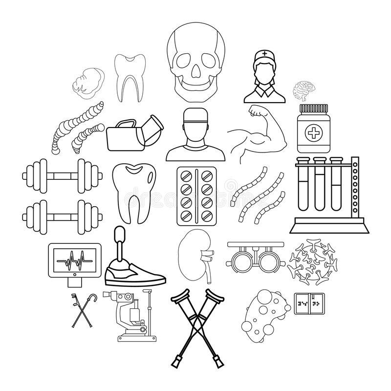 Icônes de traitement réglées, style d'ensemble illustration de vecteur