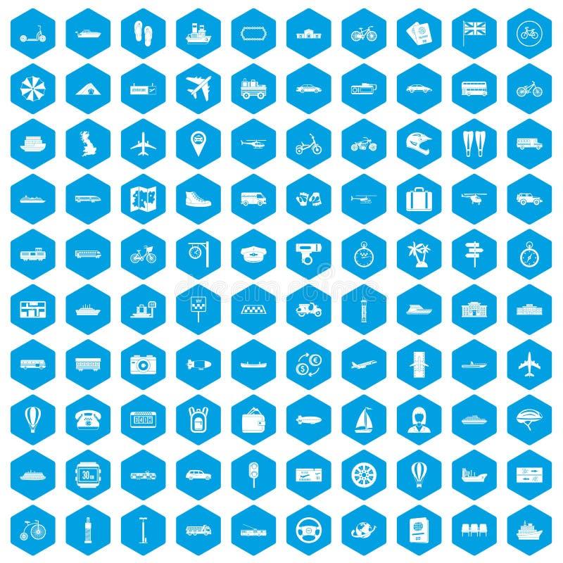 100 icônes de transport en commun réglées bleues illustration libre de droits