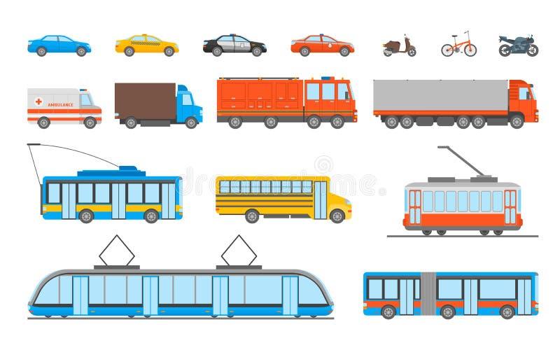 Icônes de transport urbain de bande dessinée réglées Vecteur illustration libre de droits