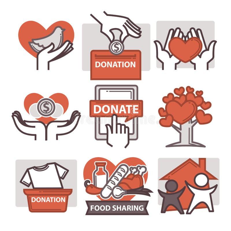 Icônes de travail de donation et de volontaire illustration stock
