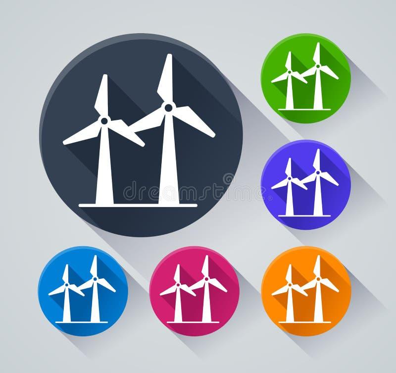 Icônes de turbine de vent avec l'ombre illustration de vecteur