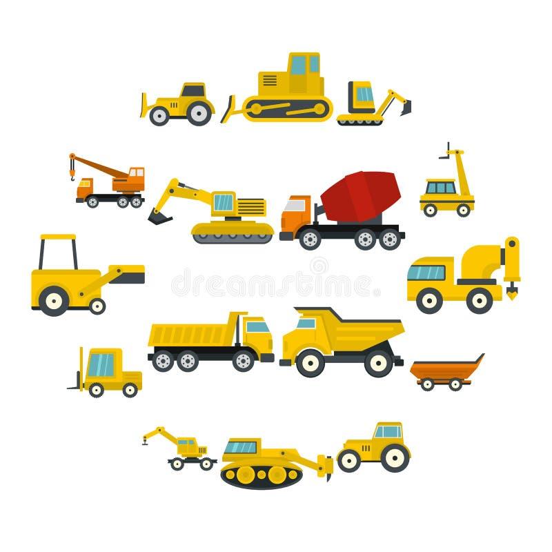 Icônes de véhicules de bâtiment réglées dans le style plat illustration stock