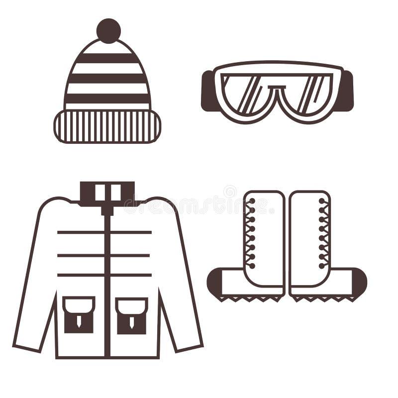 Icônes de vêtements de grimpeur illustration stock