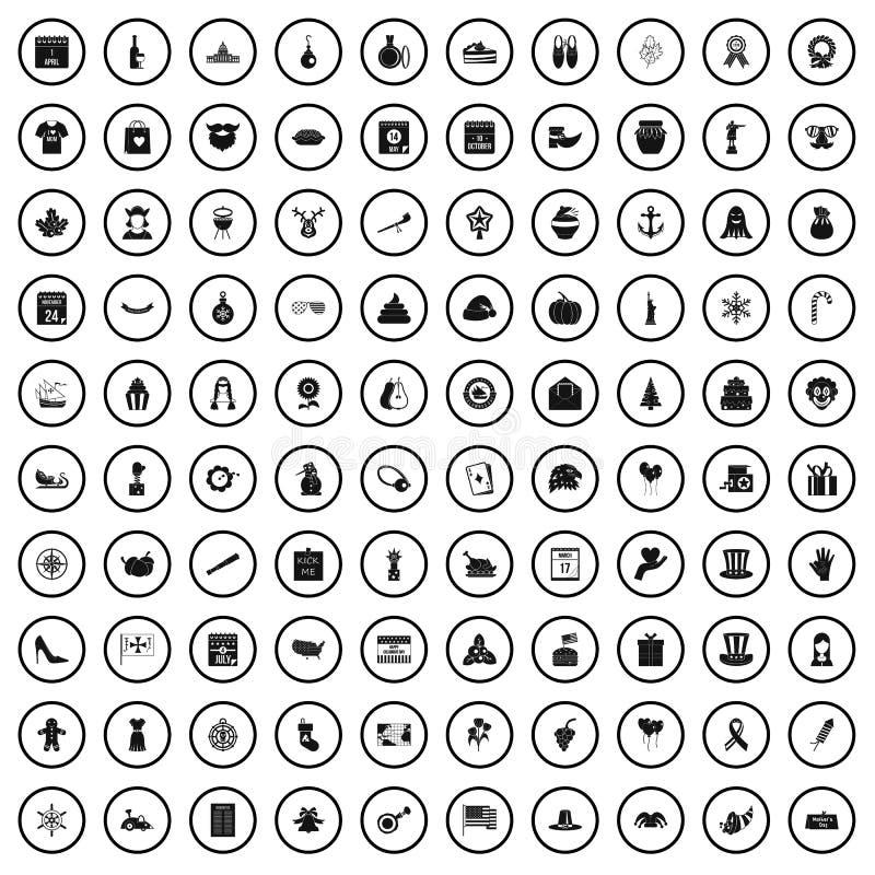 100 icônes de vacances nationales réglées, style simple illustration stock