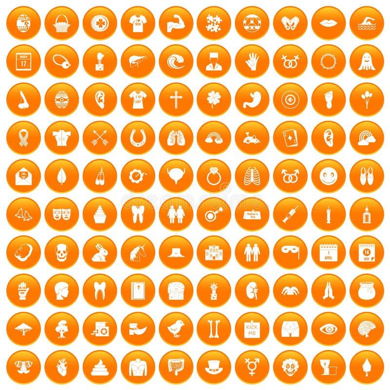 100 icônes de vacances de ressort réglées oranges illustration stock