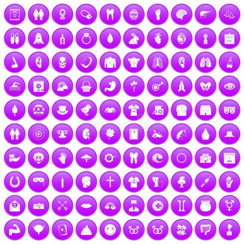 100 icônes de vacances de ressort réglées pourpres illustration de vecteur