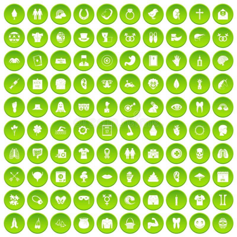 100 icônes de vacances de ressort réglées vertes illustration de vecteur