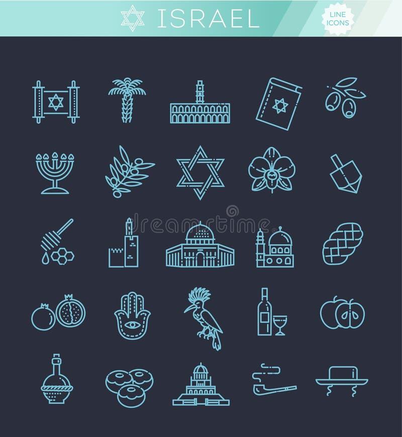 Icônes de vacances de voyage de l'Israël de pays réglées illustration stock