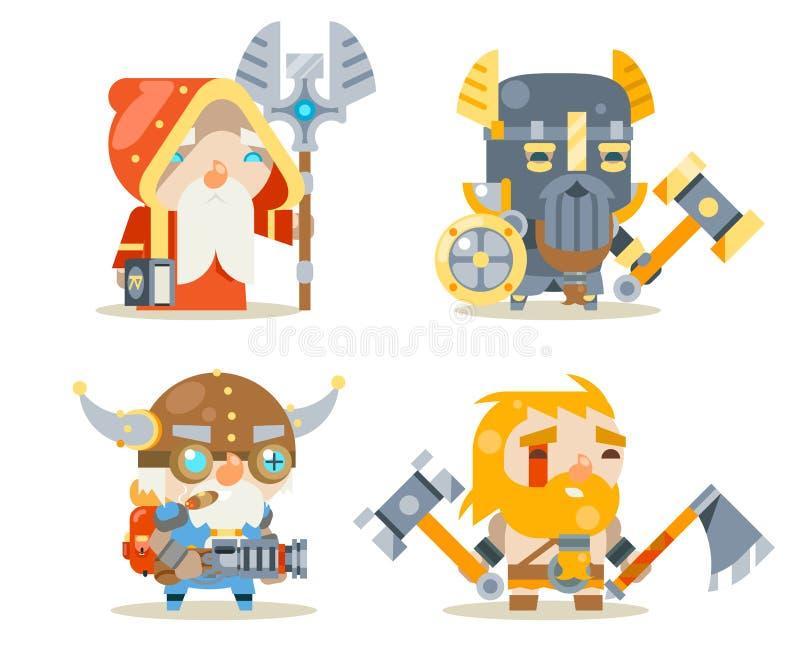 Icônes de vecteur de caractère de jeu de Worker Fantasy RPG d'inventeur de Rune Mage Priest Berserker Engineer de défenseur de gu illustration de vecteur