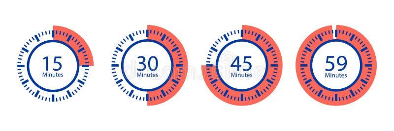 Icônes de vecteur de chronomètre Minuterie d'isolement sur le fond blanc illustration stock