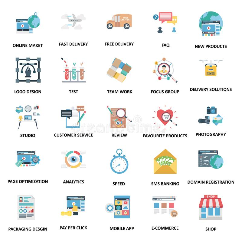 Icônes de vecteur de couleur de concepts d'affaires réglées images libres de droits