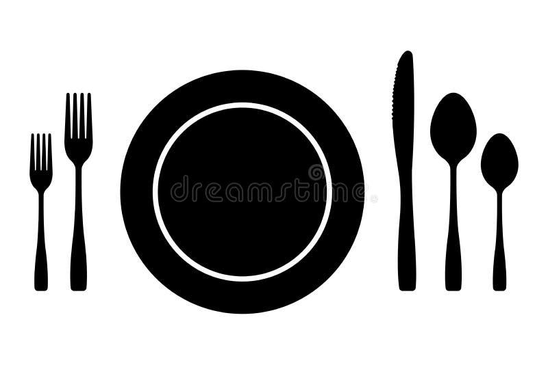 Icônes de vecteur de couverts réglées des silhouettes plat et cuillère de couteau de fourchette d'isolement illustration stock