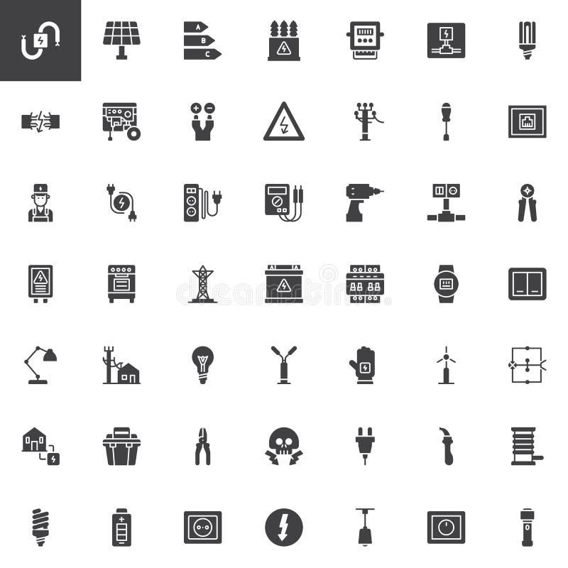 Icônes de vecteur d'éléments d'électricien réglées illustration stock