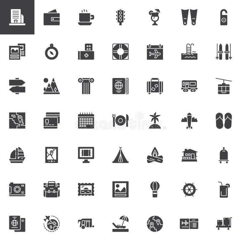 Icônes de vecteur d'éléments de voyage réglées illustration libre de droits
