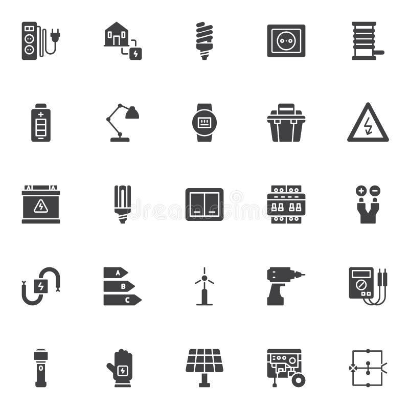 Icônes de vecteur d'électricien réglées illustration stock