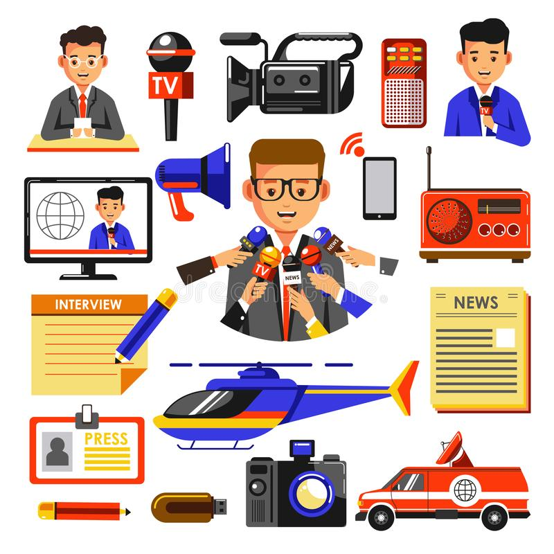Icônes de vecteur d'actualités de journaliste, de cameraman, de radio de journal et de caméra vidéo illustration de vecteur