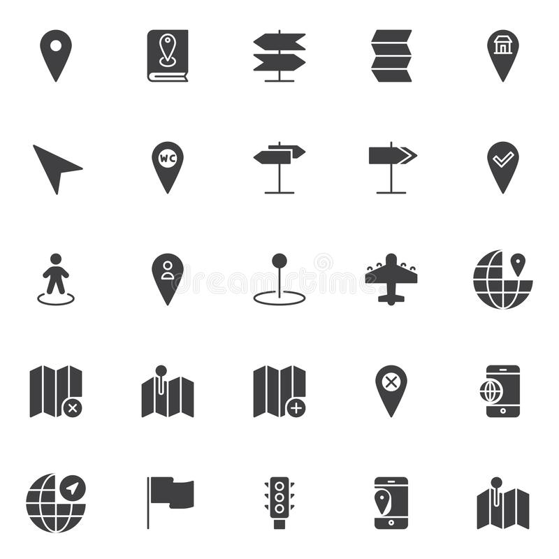 Icônes de vecteur d'emplacement et de navigation réglées illustration de vecteur