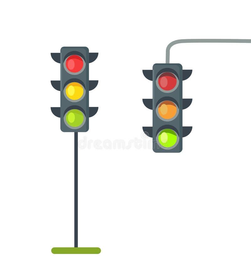 Icônes de vecteur d'isolement de feux de signalisation sur le blanc illustration stock
